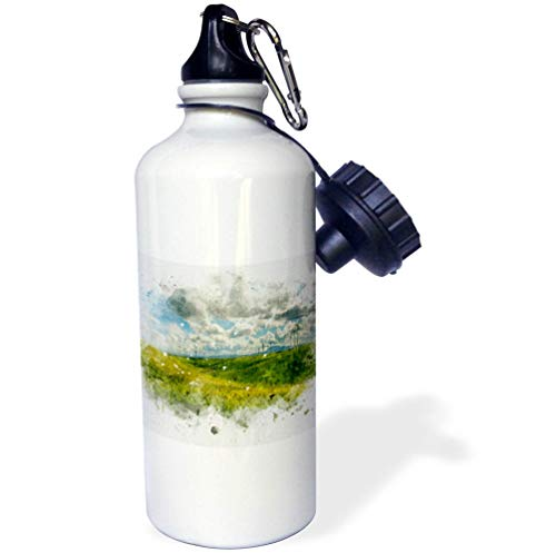 3dRose Anne Marie Baugh - Impressionist Mixed Media Art - Image of Watercolor Modern Windmills in A Field Art - 21 oz Sports Water Bottle (wb_318691_1)
