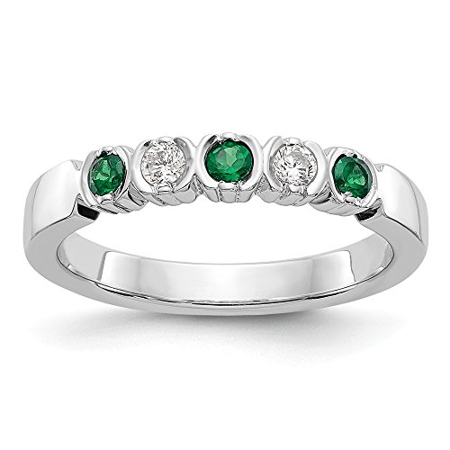 14k White Gold Diamond Green Emerald Wedding Ring Band Size 7.00 Gemstone Bridal Fine Jewelry Gifts For Women For Her