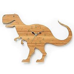 Justup® Children's Wall Clock, 12 Inch Dinosaur Bamboo Grain Wall Clock Forest Theme Animal Quartz Clock for Children's Room (Dinosaur)