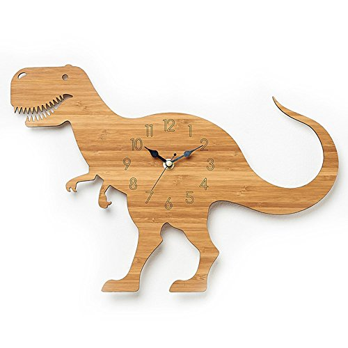 Justup® Children's Wall Clock, 12 Inch Dinosaur Bamboo Grain Wall Clock Forest Theme Animal Quartz Clock for Children's Room (Dinosaur) by Justup®