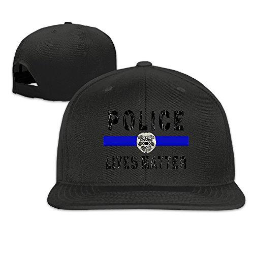 [KEV Police Lives Matter Flat Brim Baseball Hat Black] (Cheap Police Hats)