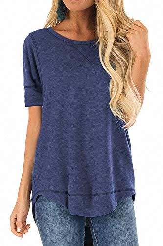 Allimy Women Summer Casual Shirts Petite Short Sleeve Tunic Tops Blouses Juniors Navy ()
