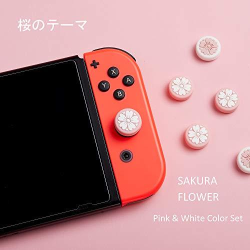LeyuSmart Sakura Flower Thumb Grip Caps, Joystick Cap for Nintendo Switch & Lite, Soft Silicone Cover for Joy-Con Controller (Pink&White)