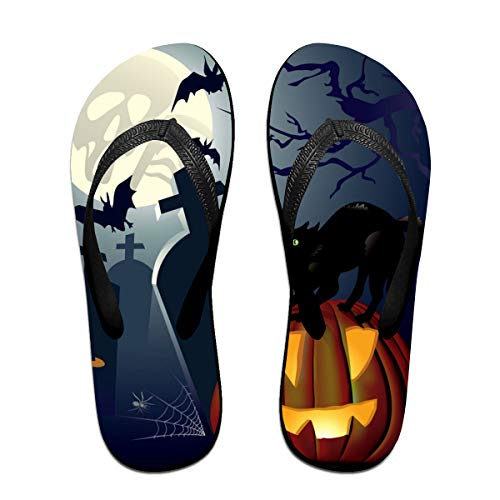 Sprutea Halloween Night Vector Image Cat Casual Flip Flop Sandals for Men and Women for Home Beach Or Shower Black