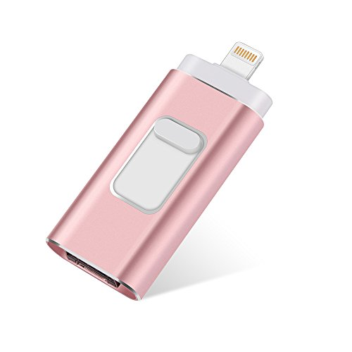 USB flash Drive for iPhone 32GB thumb drive Memory Storage 3 in 1 Lightning Memory Stick External Storage Memory Expansion for Apple IOS Android Computers (Pink)