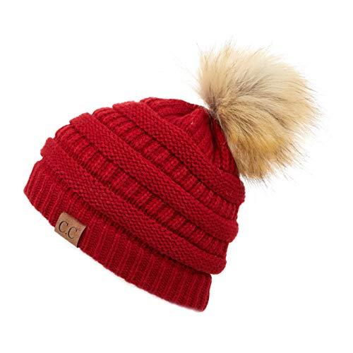 Hatsandscarf CC Exclusives Unisex Solid Ribbed Beanie with Pom (HAT-43) (Red Amazon) ()