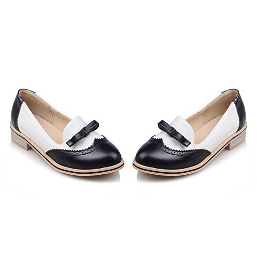 VogueZone009 Women's Soft Material Round Closed Toe Low-Heels Pull-On Pumps-Shoes Black NKV2AjjBi