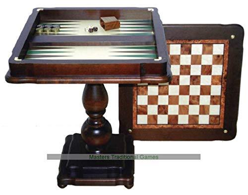 Italfama Beech Chess Table with Hand Inlaid Backgammon Board (58cm)