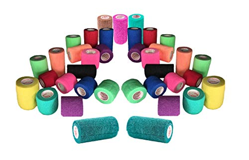 Prairie Horse Supply 3 Vet Wrap Tape Bulk, Self Adherent Wrap Tape, Self Adhering Stick Bandage, Self Grip Roll (3 inches Wide x 15 Feet Long) - 6 Rolls - Assorted Colors