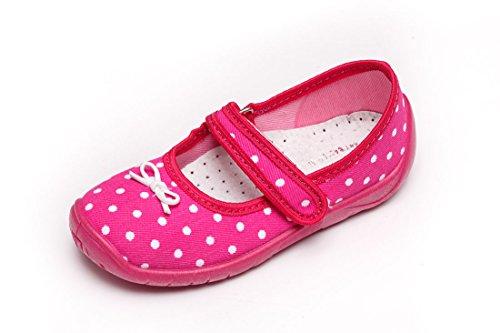 Ballerinas Hausschuhe amaranth 26 Polkadot bis 33 Gr Klettverschluss Mädchen Farben Verschiedene wqxFdpwC5