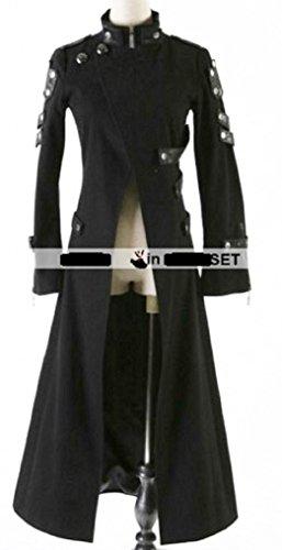 Gothic Punk Rock Matrix Unisex Costume Long Trench Coat (L, Black)