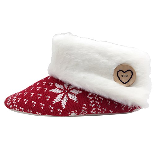 Women red Home Winter Warm Shoes star Relaxed Slippers Soft Shoes House Plush Lounge YOUNG Indoor LIGHT 6gTxAA