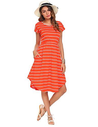 Halife Women's Summer Casual Stripe Elastic Waist Loose Beach Midi Dress Orange,S]()