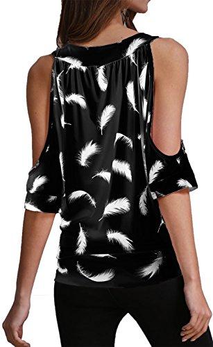 Shirt Sexy T Chemise Courtes Femme Tops Manches Noir paule Plume Jusfitsu Casual 4g8wqgx
