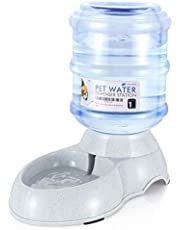 Flexzion Gravity Pet Water Dispenser Drinking Station (1/3 Gallon) for Dogs Cats Automatic Replenish Waterer for Small Medium Breed Dog Cat Animal, Feeding Watering Fountain Supplies Bottle Dish Bowl