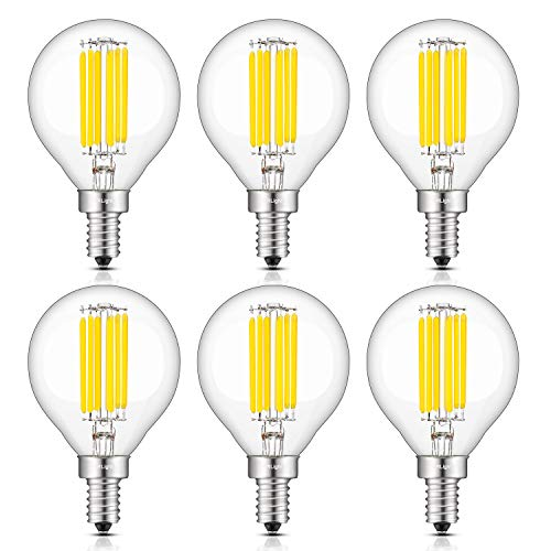 CRLight 6W 4000K LED Candelabra Bulb Daylight White, 70W Equivalent 700LM Dimmable E12 Base Antique G16(G50) Edison LED Globe Bulb, Chandelier Ceiling Fan Bathroom Vanity Mirror Light Bulbs, 6 Pack