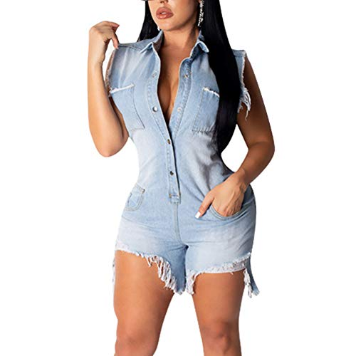 - acelyn Women's Distressed Holes Denim Rompers Sleeveless Lapel Button Pockets Ripped Jeans Bodycon Shorts Jumpsuit Light Blue Medium