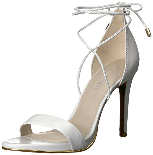 Kenneth Cole New York Women's Berry Heeled Sandal with Ankle Wraparound Lacing, White, 8 Medium US ()
