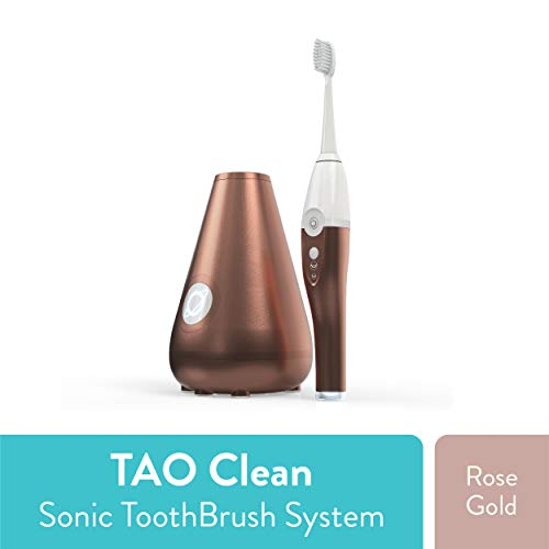 TAO Clean Sonic Toothbrush and Cleaning Station - Rose Gold - Electric Toothbrush with Patented Docking Technology, Ergonomic Handle, Dual Speed Settings