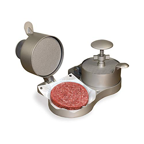 "Weston Burger Express Double Hamburger Press with Patty Ejector (07-0701), Makes 4 1/2"" Patties, 1/4lb to 3/4lb,Grey"
