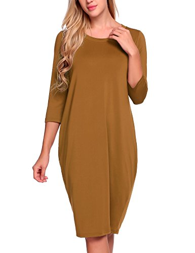 ANGVNS Women's 3/4 Sleeves Round Collar Loose Bubble Shape Midi (Silk Bubble Dress)