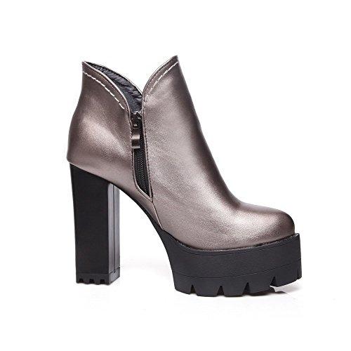 AllhqFashion Damen Knöchel Hohe Reißverschluss Weiches Material Hoher Absatz Stiefel, Grau, 43