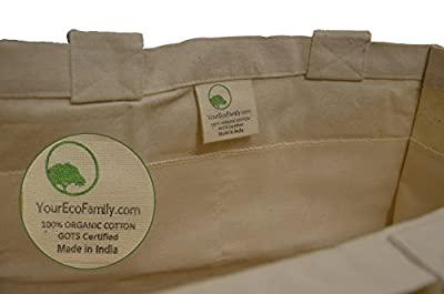 YourEcoFamily Certified Organic Cotton Grocery Bags with Bottle Sleeves - Premium Quality (3 Pack)