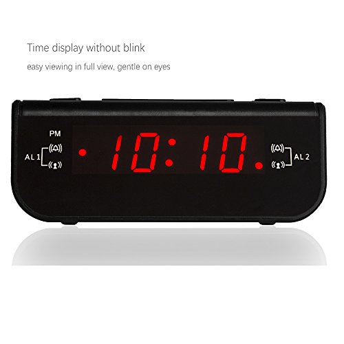 peakeep little digital fm alarm clock radio with dual alarm snooze sleep timer and battery. Black Bedroom Furniture Sets. Home Design Ideas