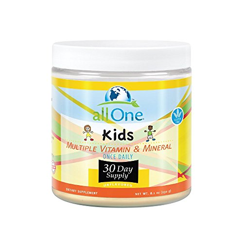 allOne Kids Multiple Vitamin & Mineral Powder   Once Daily Multivitamin Powder for Children w/Whole Food Rice Base   Sugar Free, Vegan   30 Servings -