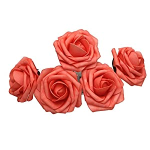 50 pcs Artificial Flowers Foam Roses for Bridal Bouquet Bouquets Wedding Centerpieces Kissing Balls (Coral) 112
