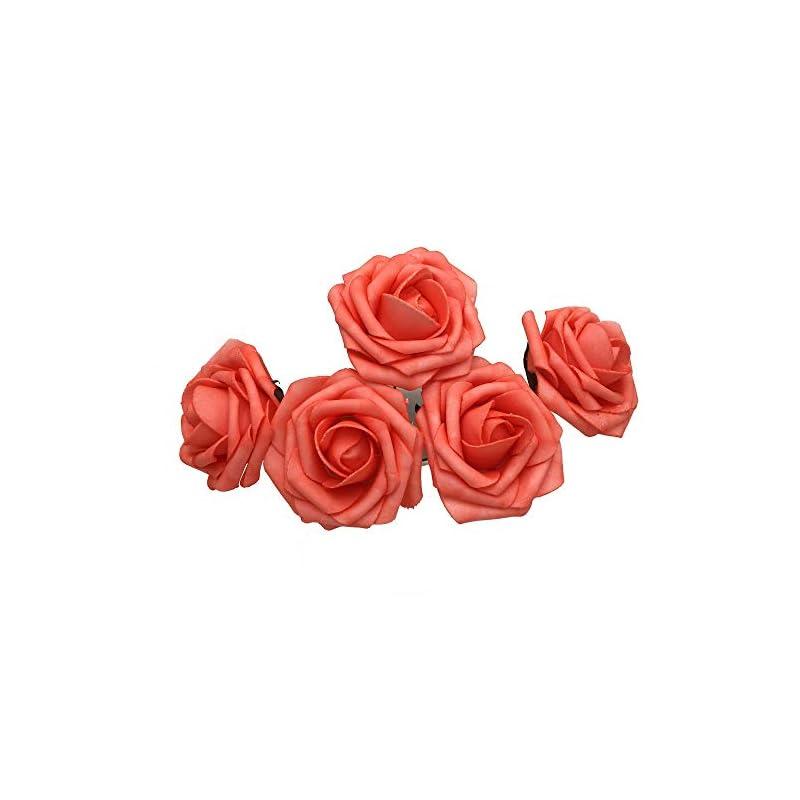silk flower arrangements coral wedding flowers artificial foam roses fake flowers crafting for wedding centerpieces flower balls 50 flowers