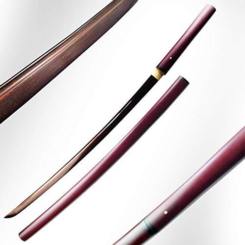 Weapons Japanese Hanwei (Musha Handmade Damascus Japanese Shirasaya, Samurai Sword, Katana with Full Tang Damascus Blade (Red))