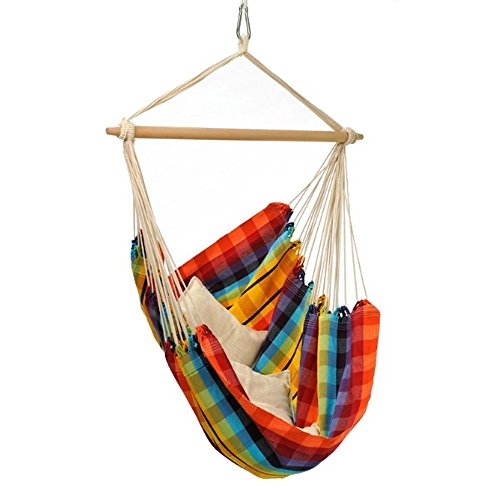 Byer of Maine Brazil Hanging Hammock Chair, Indoors and Outdoors, Recycled Cotton/Polyester Blend Canvas, Handwoven, Rainbow, 68″ L X 42″ W, Holds up to 240lbs Review