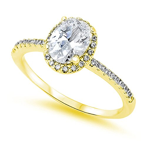 Accent Halo Wedding Promise Ring Oval Cut Cubic Zirconia Round CZ Yellow Tone Plated 925 Sterling Silver