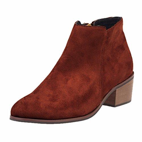 qin&X Women Shoes Short Boots Solid Color Big size Sharp Rough heel Zipper Brown fBvi1i7fhm