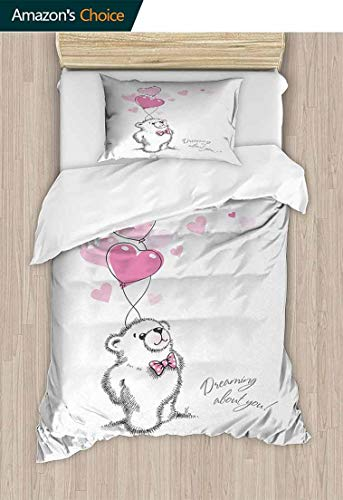 (Bear Full Queen Duvet Cover Sets, Sweet Little Teddy Bear Keeping Pink Heart Shaped Balloons Romantic Quote, 100% Cotton Reversible 2 Pieces Kids Girls Boys Bedding Sets,47 W x 59 L Inches)