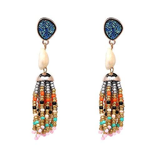 Bead Fringe Dangle Earrings Long Fringe Drop Beaded Tassel Earrings Turquoise Shell Multi Color Ear Dangle (Blue)