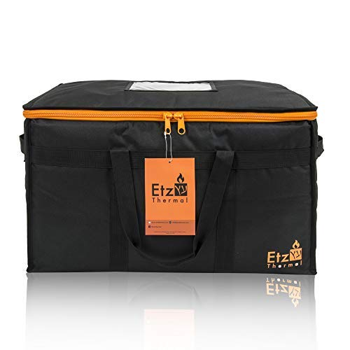 (Etz Thermal 85 Heavy Duty Commercial Food Delivery Bag - XL Size w/Divider - Double Insulation & Thermal Liner Keeps Food Hot or Cold - Great for Catering, Groceries, Uber)