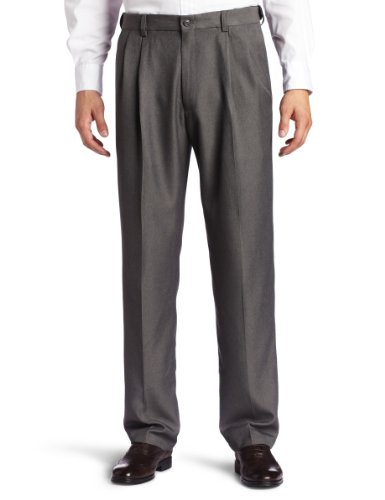 Haggar Men's Big-Tall Cool 18 Gabardine Hidden Expandable Waist Pleat Front Pant, Graphite, 46x30