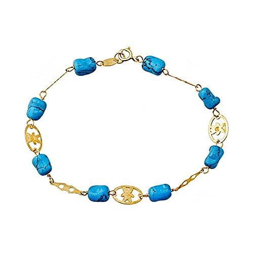 Bracelet or 18k porte 7x5mm turquoise. [AA6646]