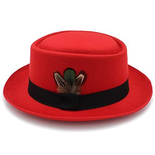 Weejb Classic Fedoras Woolen Felt Black Pork Pie Hat Porkpie Jazz Fedora Hat Round Top Trilby Stingy Brim Feather Cap Hats (Color : Red, Size : 56-58cm)