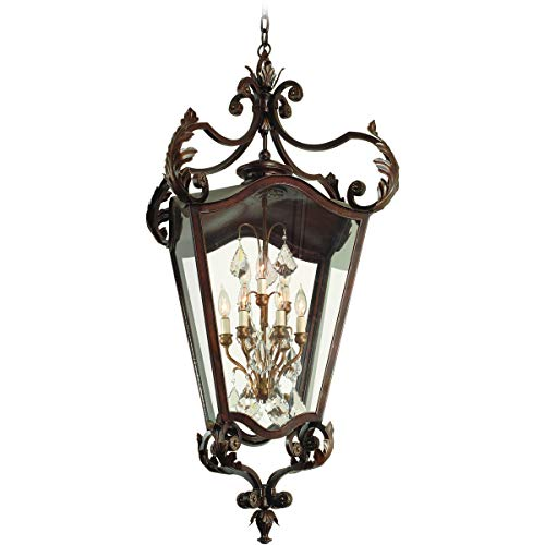 Outdoor Pendant 3 Light Bulb Fixture with Antique Bronze Finish Hand Forged Iron Candelabra 23