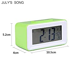 LNLW Easy-Read Display Alarm Clock Digital LED Alarm Clocks Student Clocks with Week Snooze Thermometer Watch Electronic Table Calendar LCD Desk Timer (Color : Green)