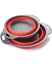 Enko® Vergiet Set, Keuken Opvouwbaar Siliconen Filter, Milieuvriendelijk Niet-giftig Makkelijk schoon te maken, 2 Maten Inclusief 8-inch en 9.5-inch Rood