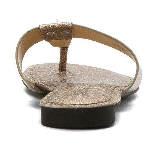 Michael Michael Kors Hamilton Sandalias planas Nickel Metallic Leather