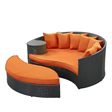 LexMod Taiji Outdoor Wicker Patio Daybed with Ottoman in Espresso with Orange Cushions