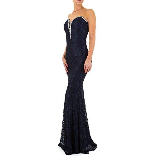 iTaL-dESiGn - Vestido - cuello hálter - para mujer azul oscuro