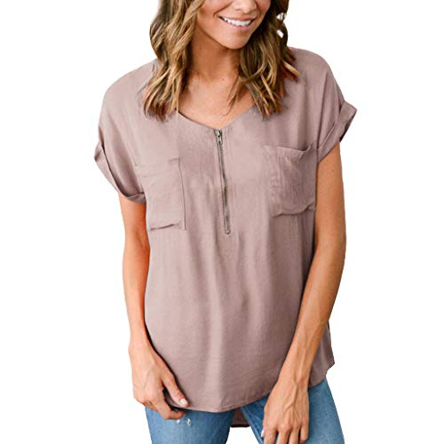 - ℱLOVESOOℱ Women's O Neck Short Sleeve Zipper Shirts Casual Loose Fits Pocket Pleated Tunic Tops Blouse Khaki