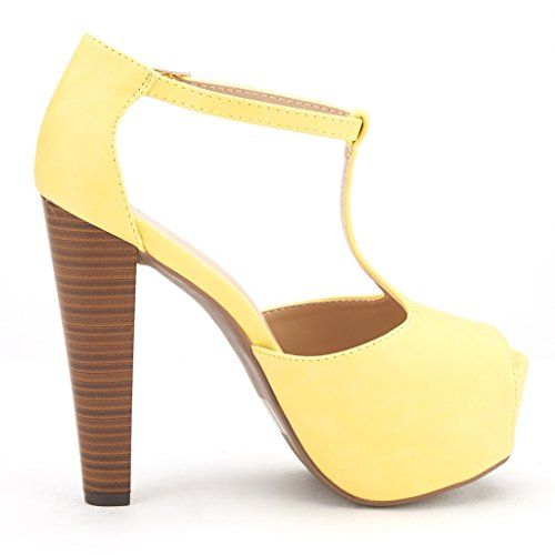 DREAM PAIRS JESSICA-P Women's Evening High Heels Peep Toe Ankle T-Strap Platform Casual Pumps Sandals YELLOW-SZ-7.5
