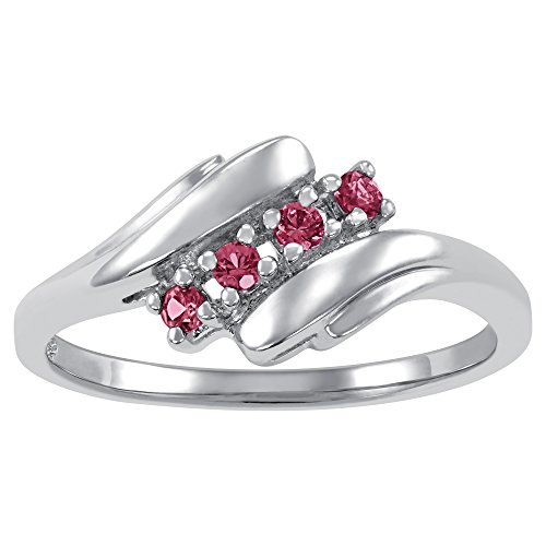 ArtCarved Love Promise Simulated Ruby July Birthstone Ring, Sterling Silver, Size 12